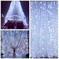 Curtain Icicle Lights, String Lights 9.8 X 9.8ft 320 LED Starry Fairy Lights for Wedding, Bedroom, Christmas, Party, Bed Canopy, Garden, Patio, Outdoor Indoor