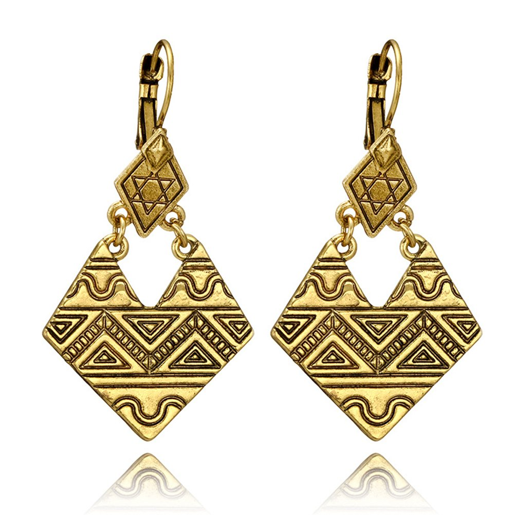 Ethnic Geometric Texture Hollow Rhombic Irregular Drop Earrings Antique Gold Silver Triangle Texture Square Jewelry