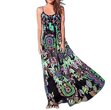 71e0a67ee25 TUDUZ Women Dress Ladies Womens Bohemian Floral Print Sling Long Maxi Dress  Sleeveless Summer Beach Dress Pink  Amazon.co.uk  Clothing