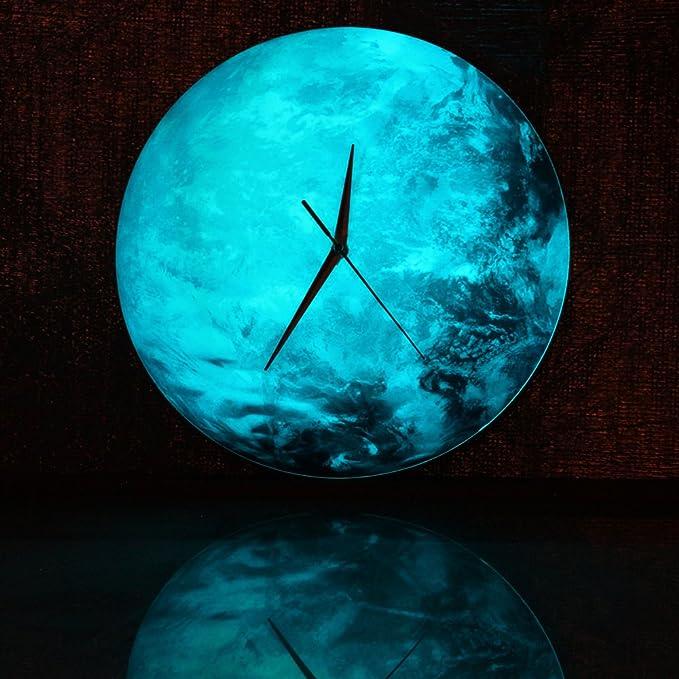 chengor 30 x 30 cm (12 x 12 en brilla en la oscuridad luna luna tierra planeta reloj de pared Decal para niños sala de decoración para el hogar: Amazon.es: ...