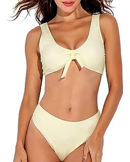 c8265dd249197 ISASSY Womens Sexy Tie Knot Front Floral Bikini Set Swimsuit High Waisted  Bikini Set