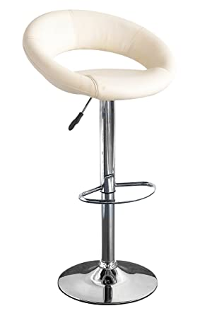 Surprising Premier Housewares Adjustable Oval Bar Stool With Leather Effect Seat And Chrome Base 82 X 44 X 38 Cm Cream Set Of 2 Download Free Architecture Designs Rallybritishbridgeorg