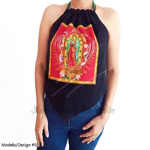 fe3389bea Blusa Top Halter Manta de Algodón Virgen María Nuestra Señora de Guadalupe