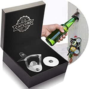 Bottle Opener Wall Mounted with Magnetic Cap Catcher - Stainless Steel - by CAPLORD, Easy to Mount, Beer Lovers, Funny Housewarming Present Ideas, Novelty Man Birthday Gifts for Men and Women