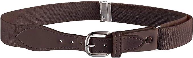Kids Elastic Adjustable Belt with Leather Closure Olive Green