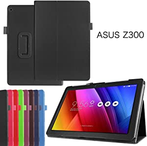 "Asus ZenPad 10 Z300C Case,Mama Mouth PU Leather Folio 2-Folding Stand Cover for 10.1"" Asus ZenPad 10 Z300C Z300CG Z300CL Z300M Z300CNL Z300CNG Tablet,Black"