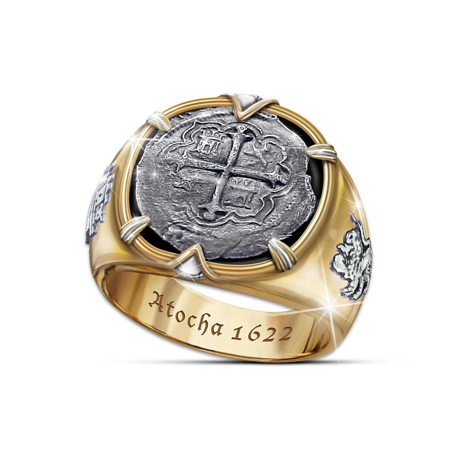 Atocha 1622 Shipwreck Men's Ring Crafted From Sunken 8 Reales Silver Coins: 13.5