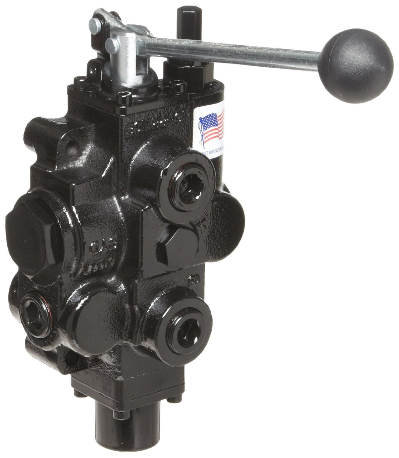 Prince RD513CA5A4B1 Directional Control Valve, Monoblock, Cast Iron, 1 Spool, 4 Ways, 3 Positions, Tandem, Spring Center, Lever Handle, 3000 psi, 30 gpm, In/Out: 3/4'' NPT Female, Work 3/4'' NPT Female