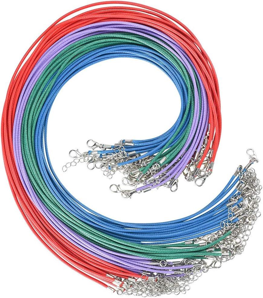 Collar de Cuerda de Cera, Cizen Collar de Cuero Artificial Cuerda con Broche de Langosta, 45cm con Cierre a Granel y Cadena de Extensión de 5cm para Hacer Collar, Pulsera y Hacer Joyas