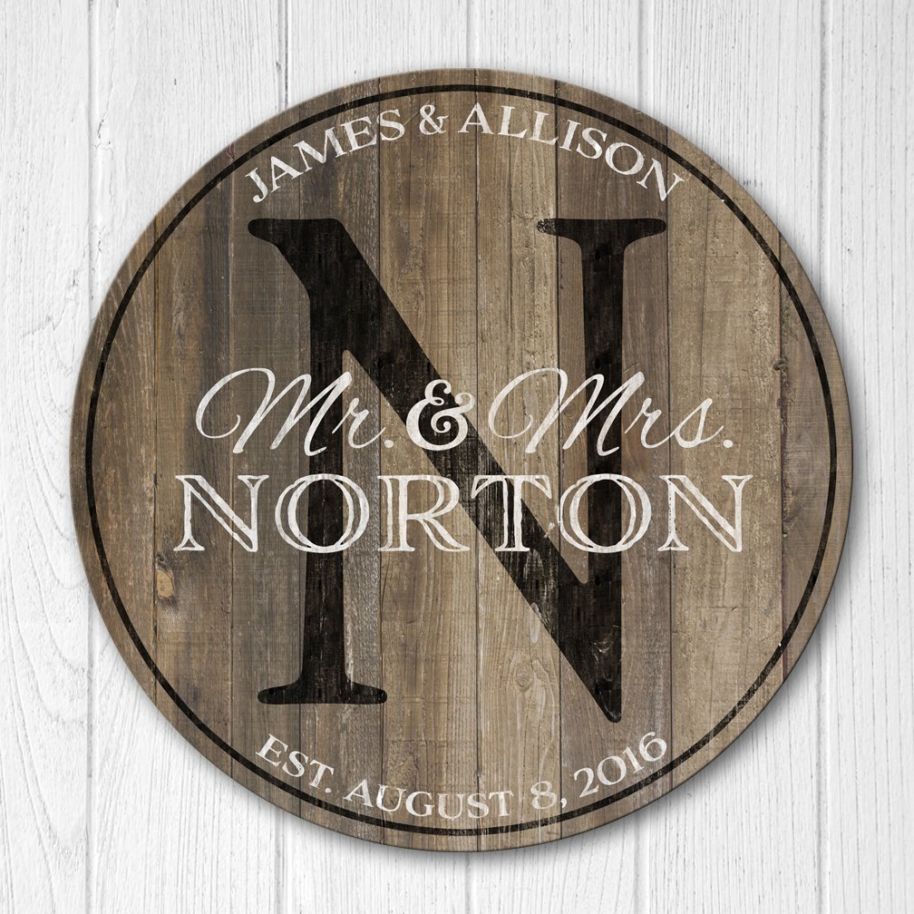 Personalized Wedding Anniversary Gift, Wood Family Established Sign, Mr and Mrs Last Name Wood Plaque