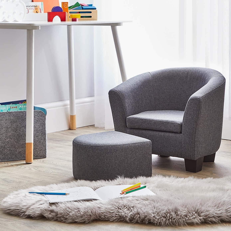 Biznest Kids Grey Linen Armchair And Footstool Beautiful Kids Chair H43Cm X W51Cm X D40Cm
