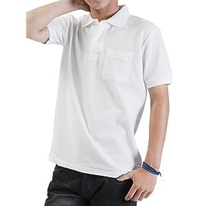 ティーシャツドットエスティー ポロシャツ 半袖 無地 鹿の子 ポケット付き UVカット 5.8oz メンズ ホワイト L