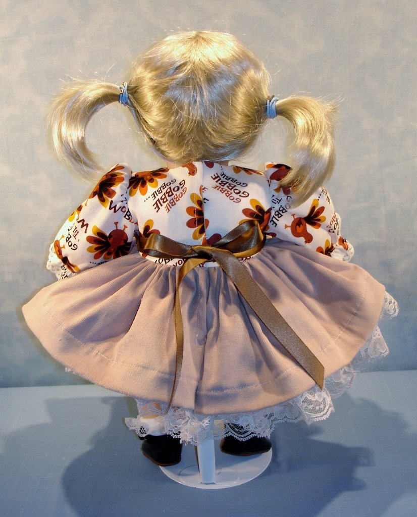 Gobble Till You Wobble Thanksgiving Dress handmade by Jane Ellen for 15 inch baby dolls 15 Inch Doll Clothes