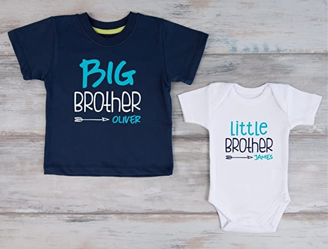 b9385a55 Amazon.com: Big Brother Little Brother Personalized Shirts, Set of 2 - Navy  T-Shirt and White Baby Bodysuit: Handmade