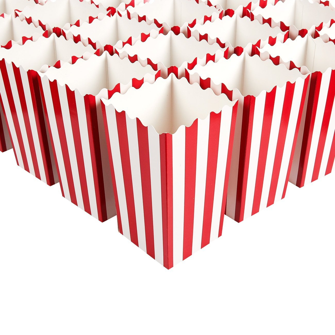 100 Pieces Red Stripe Popcorn Boxes Paper Mini Popcorn Containers Candy Snack Party Favor Boxes for Carnival Parties Birthday Movie Nights