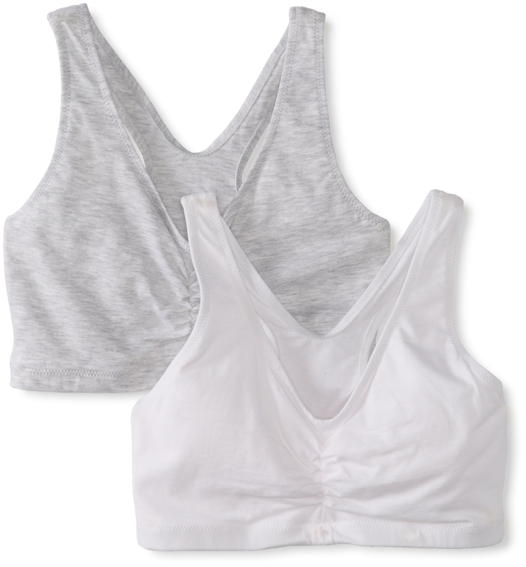 Hanes Women's Comfort-Blend Flex Fit Pullover Bra (Pack of 2),Heather Grey/White,Medium