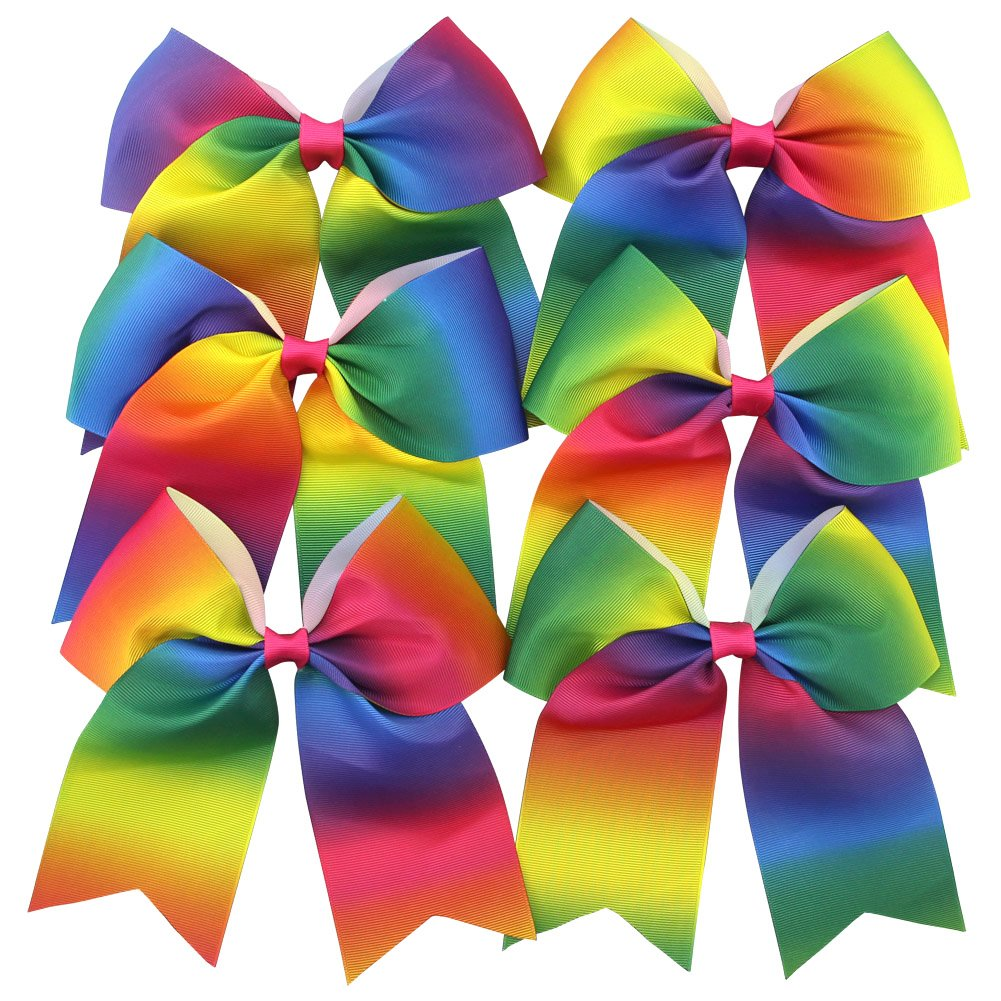 QtGirl 6 Pcs 7 Rainbow Large Cheer Hair Bows with Alligator Clip MIX171C-AMZ@#SD