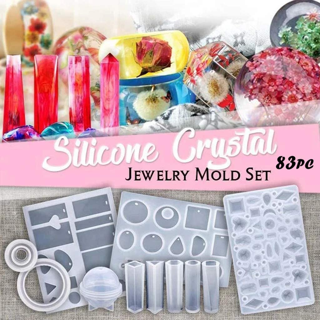 DIY Crystal Glue Jewelry Mold 83 Pcs Set Silicone Casting Molds and Tools Set with a Black Storage Bag for DIY Resin Jewelry Craft Making No Glue