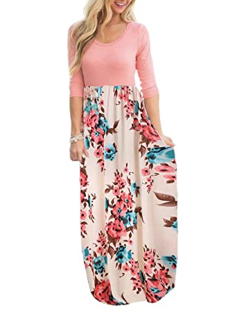 4d3d4d9d398af DUNEA Women s Maxi Dress Floral Printed Autumn 3 4 Sleeve Casual Tunic Long  Maxi Dress