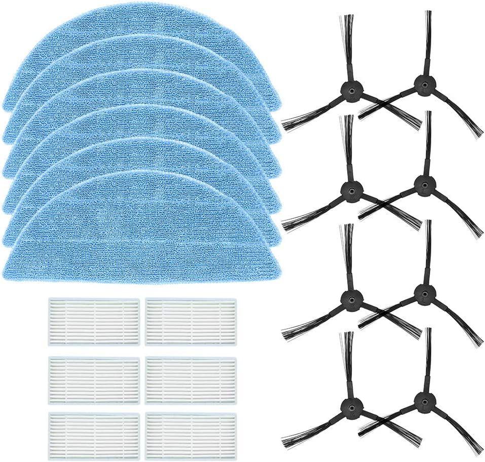 DingGreat Kit Accesorios de Recambio para Robot Aspirador ILIFE V3 V3s V5 V5s V5s Pro, Repuestos Paquete de 6 filtros, 6 Trapos de fregona, 8 Cepillos Laterales ...
