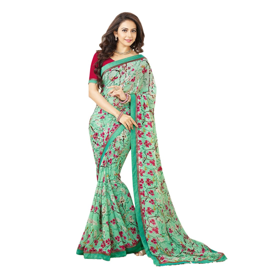 1e35793e47 awesome red firozi printed saree: Amazon.in: Clothing & Accessories