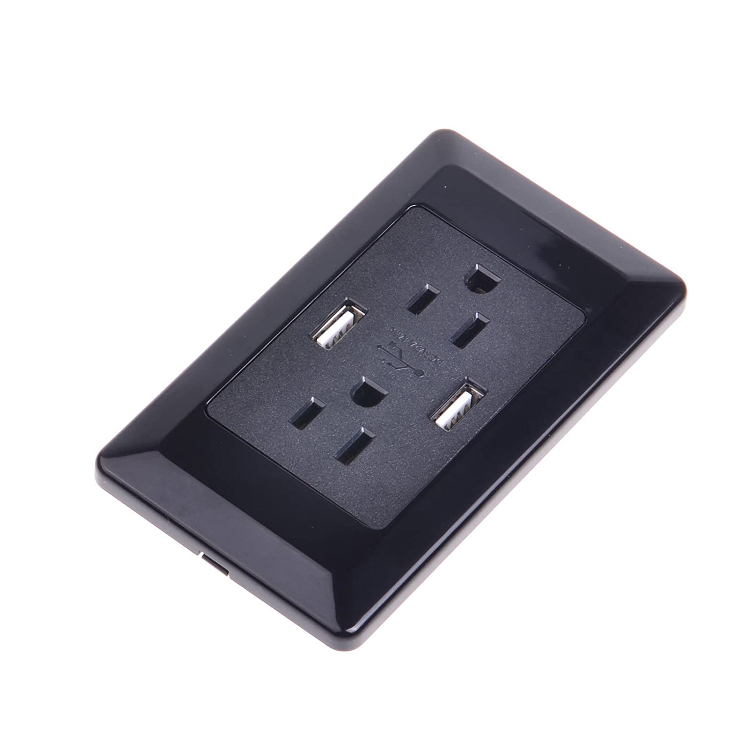 GREENCYCLE 2 Pack Smart Dual USB Charger Black Outlet Panel Receptacles 15A Electric Wall Charger Powe Plate Dock Station Socket