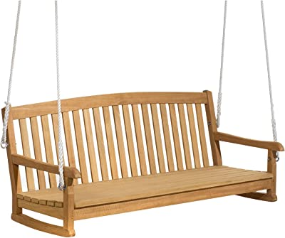 KCHEX 4 FT Porch Swing Natural Wood Garden Swing Bench Patio Hanging Seat  Chains This Beautifully ... 231173ce0ad1