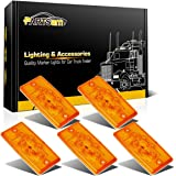 Partsam 5x Rectangle Amber 6 LED Cab Roof Top Clearance Marker Light for Freightliner Volvo