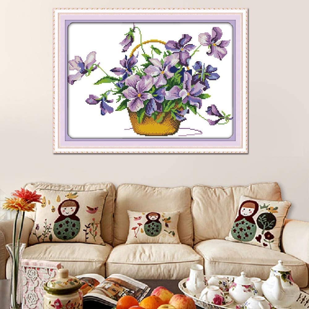 Stamped Cross Stitch Kits 14CT DIY Needlework Painting Craft Needlepoint Pattern Embroidery Design Embroidery Six Color Flower 32/×34CM