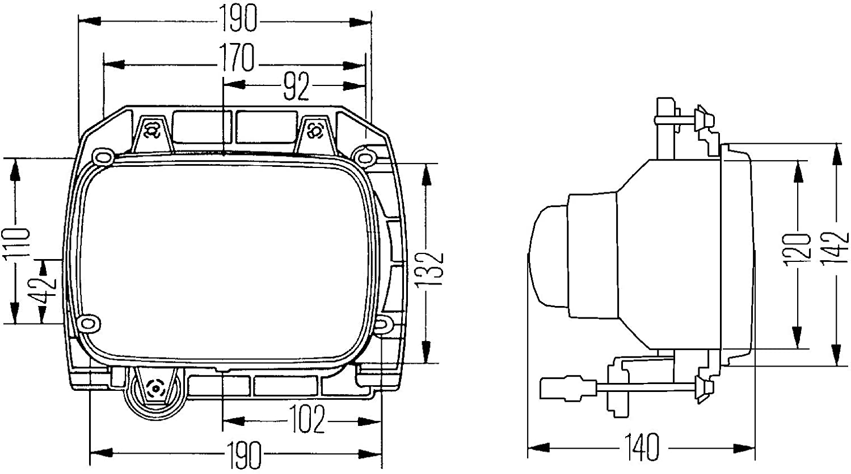 Left with holding frame headlight HELLA 1AE 003 427-151 Halogen Insert