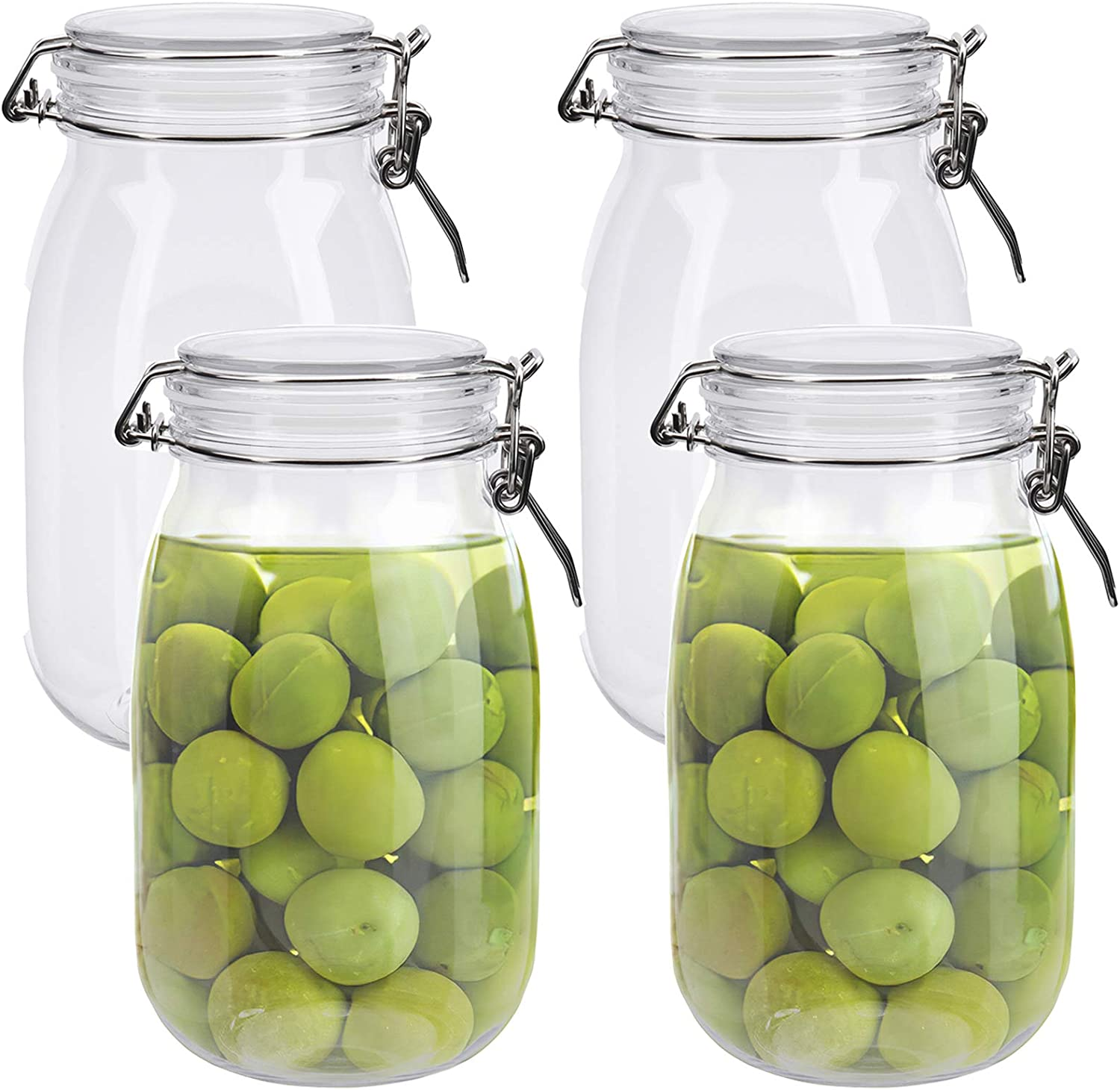 Lawei 4 Pack Plastic Mason Jars with Hinged Lids - 55 Oz Clear Acrylic Canister Set Wide Mouth Mason Jars for Kitchen Serving Tea, Coffee, Spice, Candy, Cookie