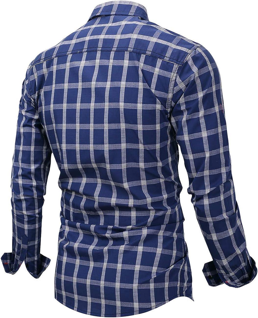 Pinkpum Mens Long Sleeve Checked Shirt Cotton Plaid Shirt Business Casual Dress British Stylish Classic Shirt Regular Fit T2-dark Blue