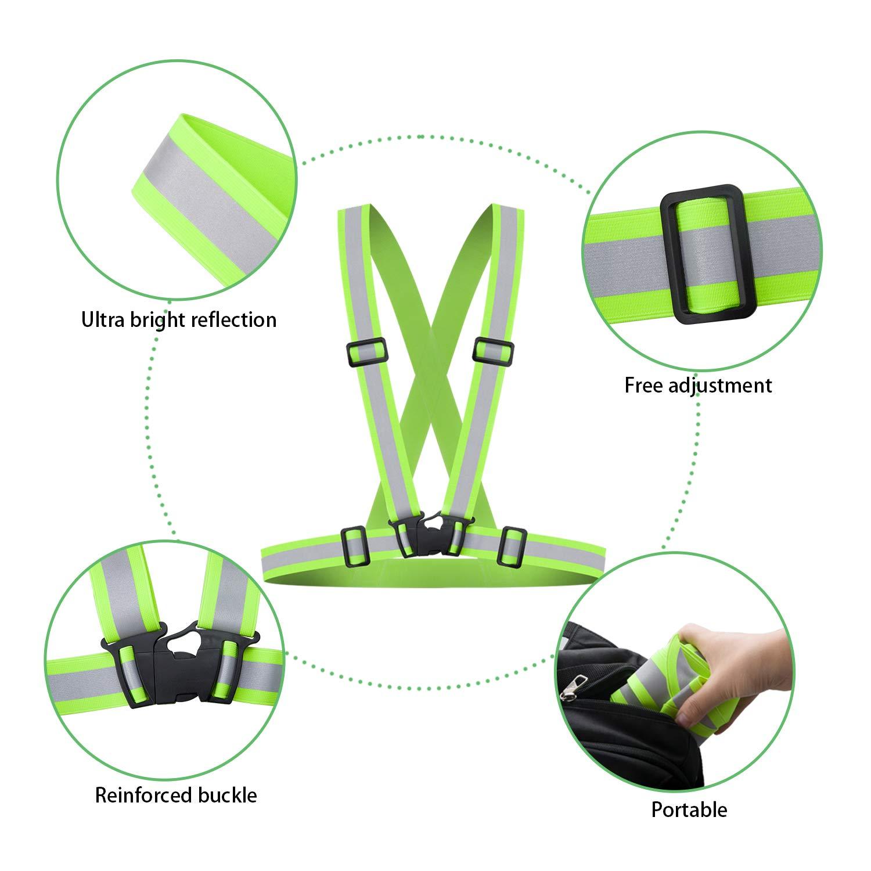 Gr/ün HEAWAA Premium Reflektierende Warnweste Sichtbarkeit Reflektierend Verstellbar Weste Sicherheit Hoher Reflektorb/änder G/ürtel Fahrrad REIT Reflektierende Weste Mit 2 Reflex Armband f/ür Outdoor
