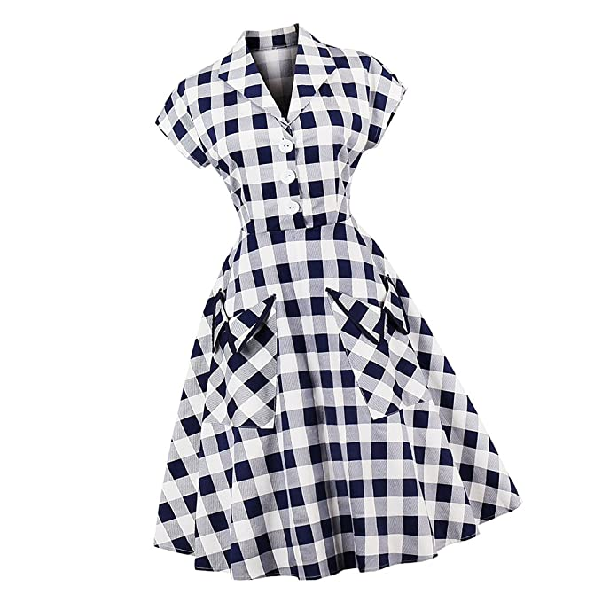 hot sale online 3f215 9ae9d MagiDeal Plaid Blu Da Donna Stampato Vintage Anni '50 Stile ...