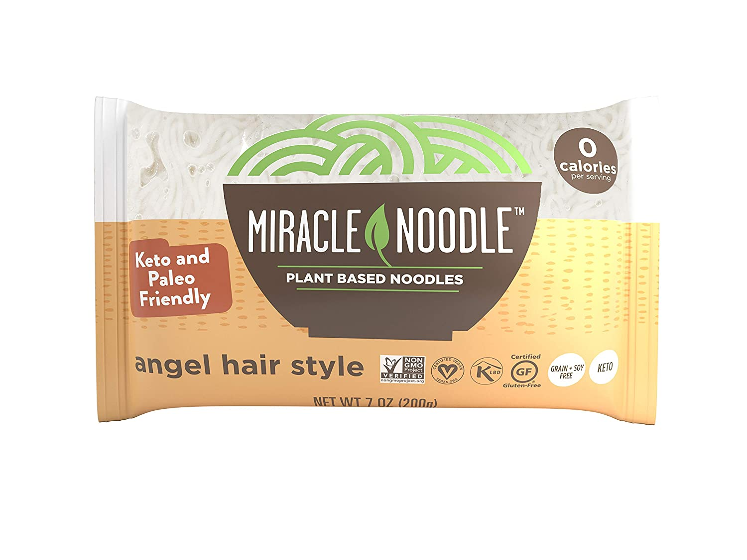 Miracle Noodle Zero Carb, Gluten Free Shirataki Pasta, Angel Hair (Packaging May Vary), 7-Ounce, (Pack of 6)