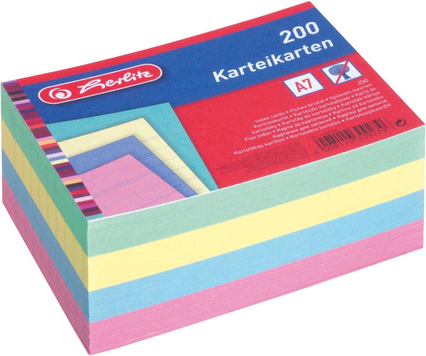 trasparente Herlitz 1907021/schedario A7/in plastica per 300/schede colore