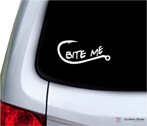 bite me Text Fishing Hook 7x3.1 inches Size Hunting United States America Color Sticker State Decal Vinyl Laptop car Window Truck - Made and Shipped in USA (White)