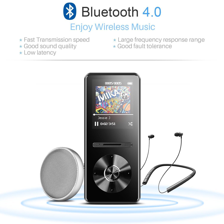 Color Negro C2 Mp3 Player de Metalico con Radio FM Grabador de Voz AGPTEK Reproductor Mp3 Bluetooth 8GB Ampliable hasta 128GB HD Pantalla 2.4 a Colores con Botones T/áctiles