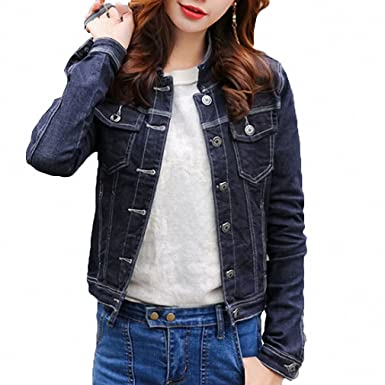 Solid Color Short Denim Jacket Women Autumn NEW Slight Elastic Bomber Jacket Long Sleeve Slim Jaqueta