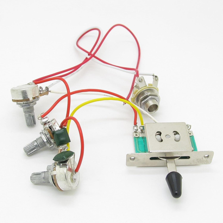 Strat Guitar Wiring Harness Prewired 3x 500k Pots 1 Volume 2 Tone Control Knobs 5 Way Switch JiuWu CA-C3D3X046