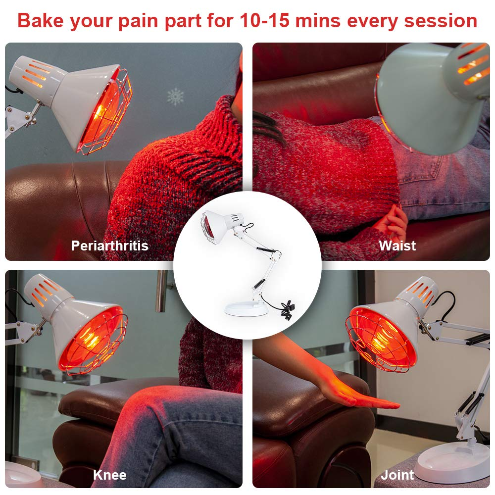 New 150W Near Infrared Light Red Light Therapy Heat Lamp Set for Body Muscle Joint Pain Relief with Improve Sleep Blood Circulation Back Shoulder Finger Pain Home Serfory 110V by Serfory (Image #3)