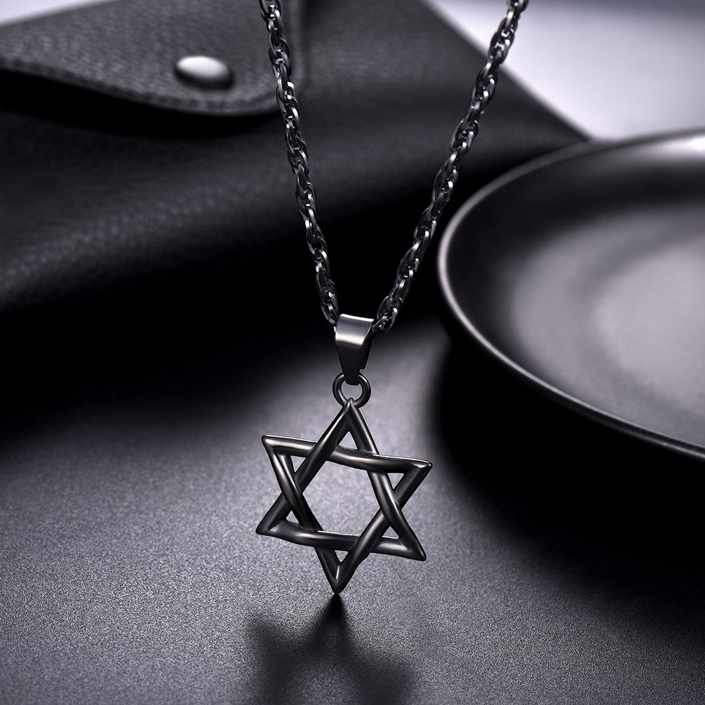 556343d08ee16 PROSTEEL Jewish Magen Star of David Necklace Stainless Steel Pendant &  Chain Israel Jewelry for Men Women Gift