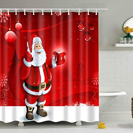 BROSHAN Christmas Shower CurtainXmas Holiday Red Cute Santa With Present On Snowflake Backdrop Art
