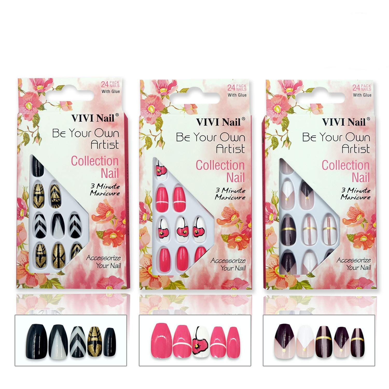 Coffin False Nails 3 Pack Ballerina Fake Nail Art Tips by VIVI NAIL