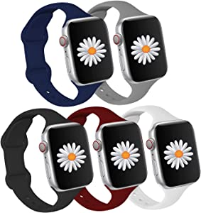 Fathers Day Gifts,Compatible for Apple Watch SE Bands 40mm 38mm Men Women,Slim Silicone Sports Band Replacement Straps for iWatch Bands Series 6 5 4 3 2 1 SE,Gift for Dad Men Him[5Pack]
