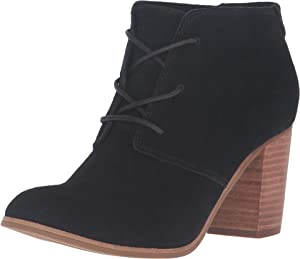 TOMS Women's Lunata Lace-Up Bootie Black Suede Boot 12 B (M)