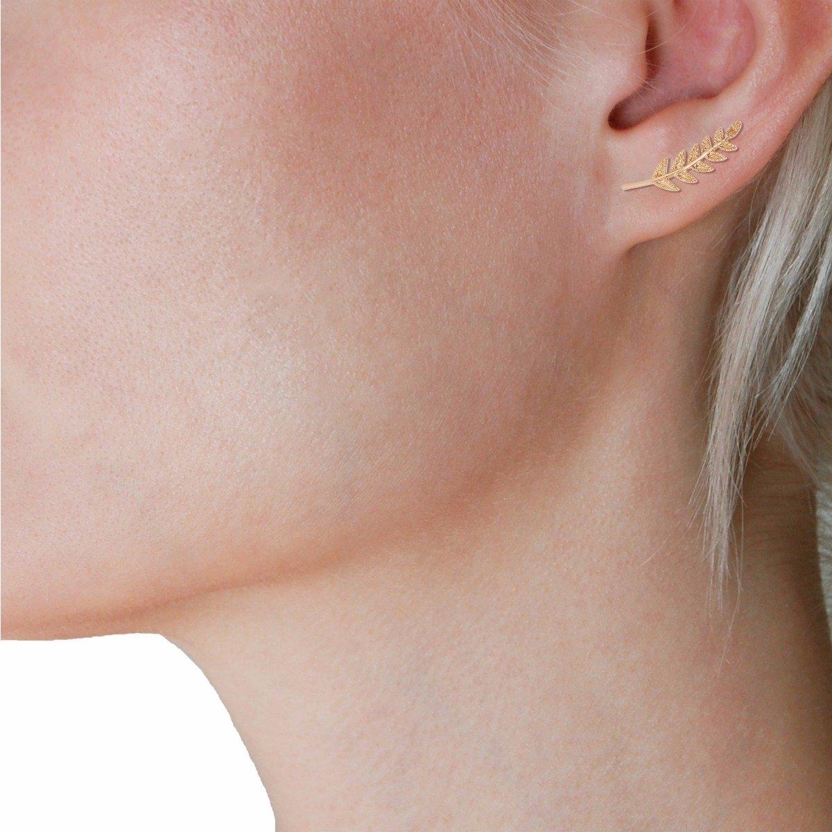 b5cd76fe2 Amazon.com: Humble Chic Tiny Leaf Ear Climbers - Delicate Crawler Cuff Stud  Jacket Earrings, Gold-Tone: Jewelry