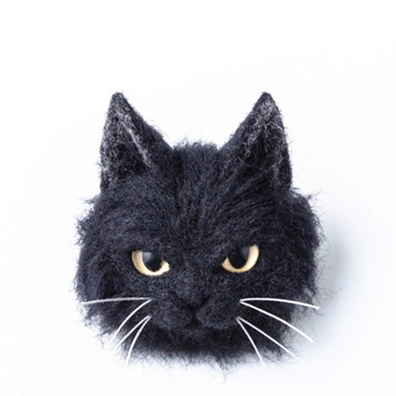 DIY Wool Needle Felting Kit with Basic Needle Felting Tools,Easy for Beginners,Cat Kitten Brooch,Animal Calico Cat