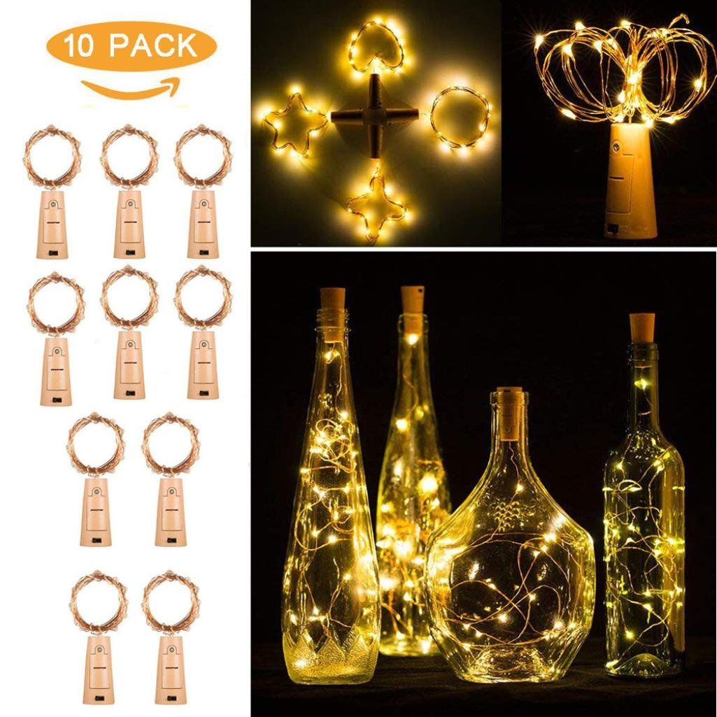 H+K+L 10pcs 20 LED Copper Wire Night Fairy Waterproof Warm White Wine Bottle Lights for Party (Yellow)