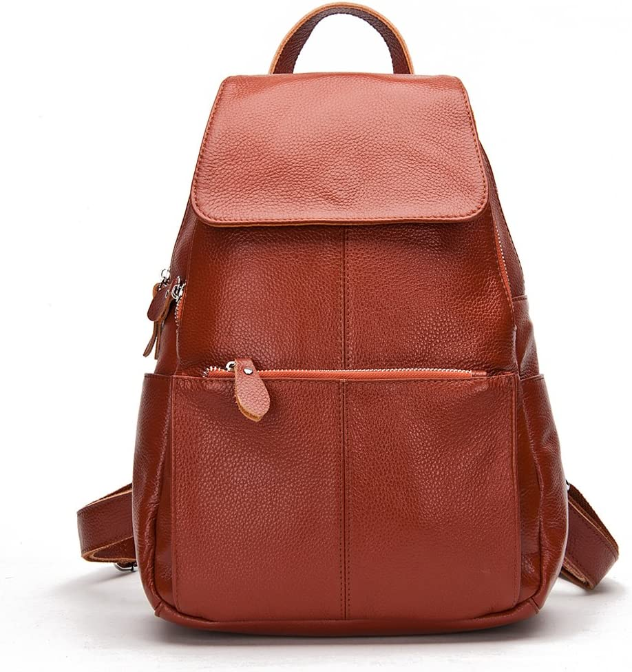 15 Colors Real Soft Leather Women Backpack Fashion Ladies Travel Bag Preppy Style Schoolbags For Girls (Brown)